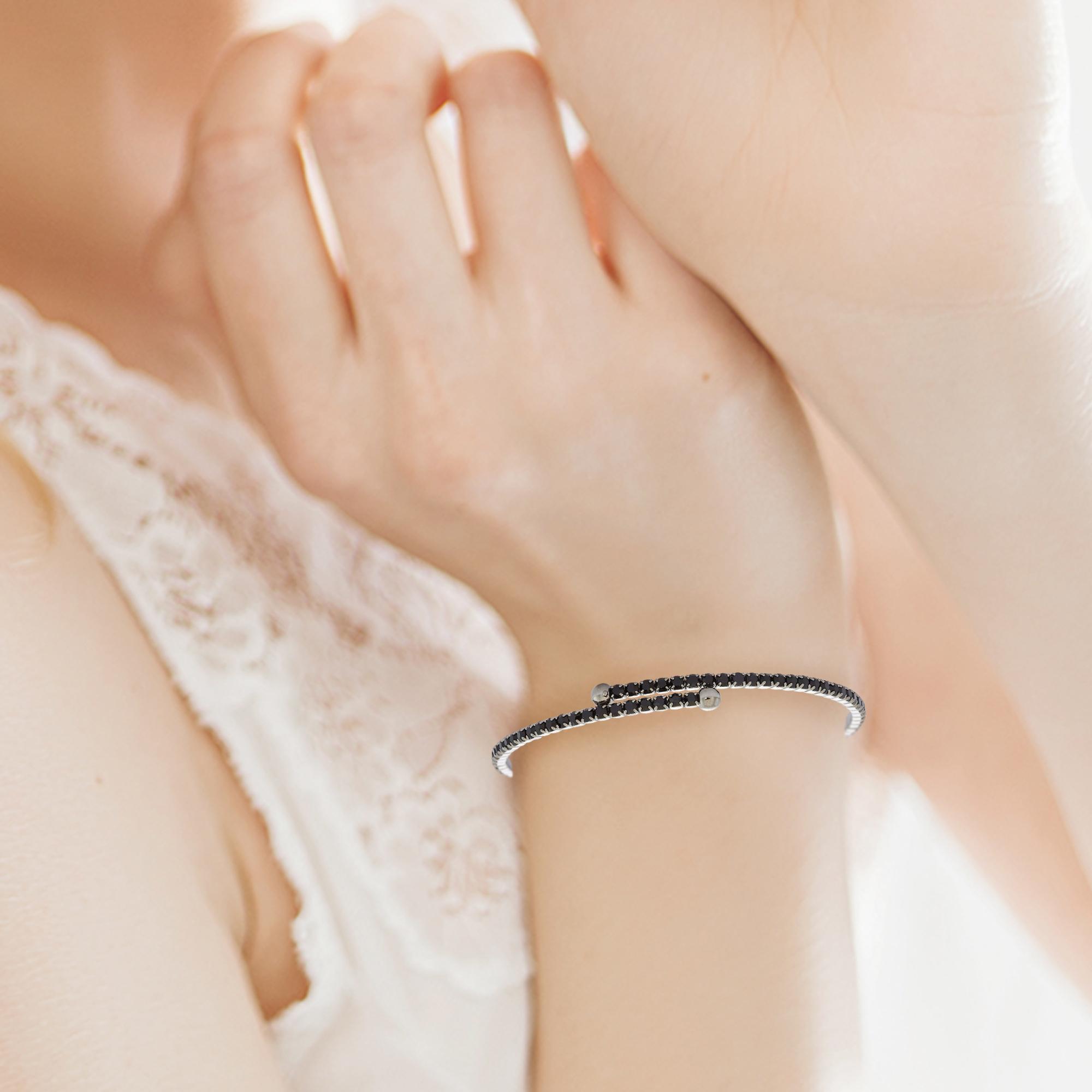 Womens-Ladies-Fashion-Accessories-Jewelry-Black-Rhodium-Plated-Bangle-Bracelet thumbnail 21